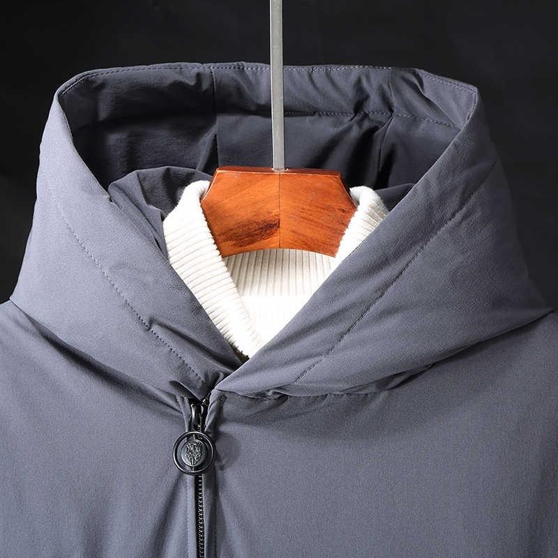 Брендовая зимняя мужская куртка, высокое качество, белый утиный пух, гусиное перо, уплотненный ветрозащитный мужской пуховик