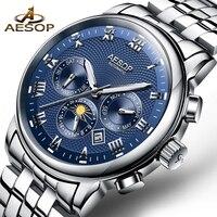 New Luxury Mens Watch AESOP Watches Men Blue Automatic Mechanical Wrist Wristwatch Stainless Steel Male Clock Relogio Masculino