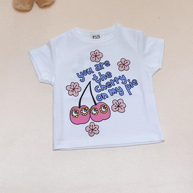 BOBOZONE apple Cherry t-shirt 2017 New ins Summer Kid Clothes Pattern Apple Cherry Tops Baby Girl Boys  Kids Tshirt