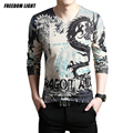 2016 Spring New Arrival Men's Knitted T Shirt Long Sleeve Cotton V Neck T-Shirt Chinese Dragon Print Fashion T Shirt Men 3XL,4XL