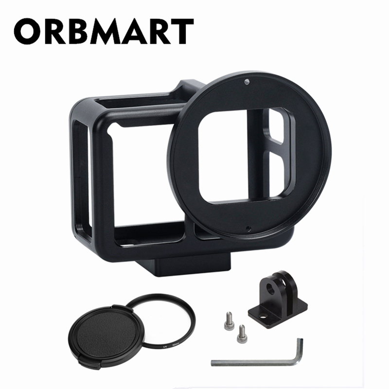 ORBMART Black Aluminum Alloy Protective Frame Housing Cover Shell Case + 52mm UV Filter For Gopro Hero 5 6 7 Black Sport Camera highpro precision cnc aluminum alloy 52mm lens converter ring for gopro hero3 housing black