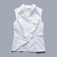 Candow Look Woman Rockabilly Design Large Size Casual Shirt Sleeveless V Neck White Button Up Office Solid Vest Top Blouses