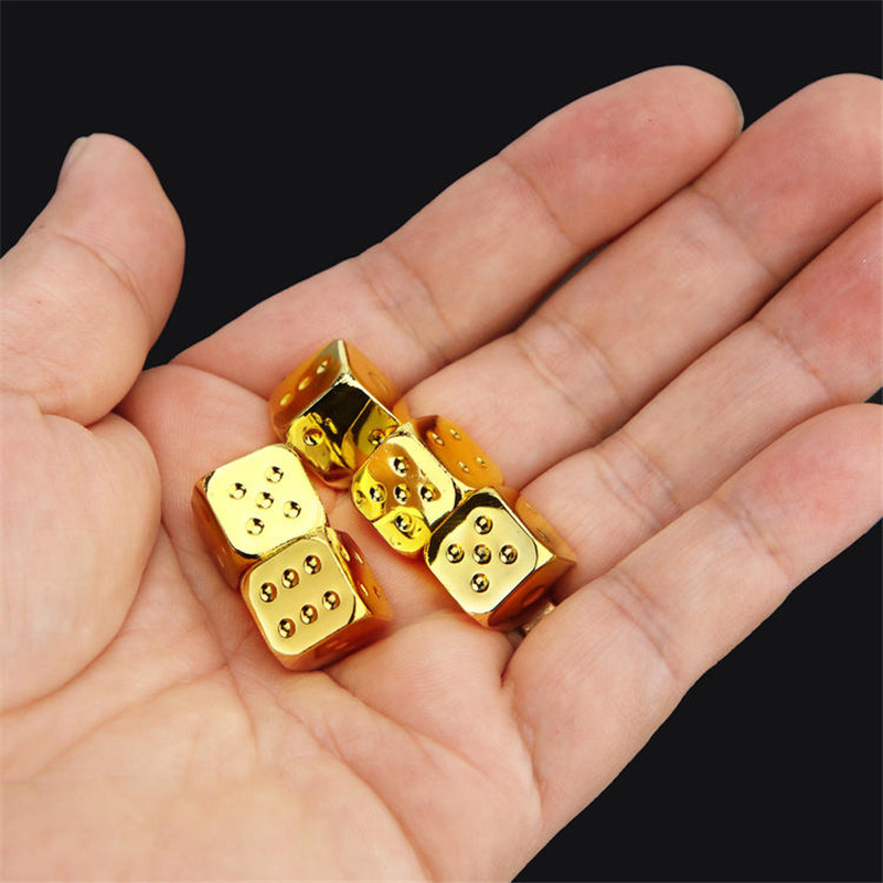 5 PCS High Quality 14mm Golden Silver Bronze Solid Metal Dice Aluminium Alloy Poker Game Portable Dice Poker Party