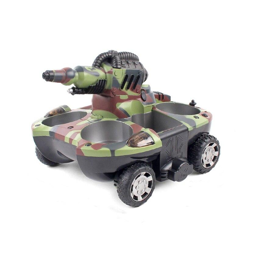 Tanque anfíbio quatro wheel drive controle remoto bomba elétrica spray de água de carregamento do carro de controle remoto para o menino