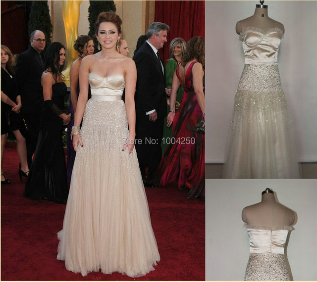 Miley Cyrus Oscar Red Carpet Dress Sexy Heavy Beaded Sweetheart Draped  Satin Organza Celebrity Dresses Evening Prom Party Gowns 7daef3acb43b