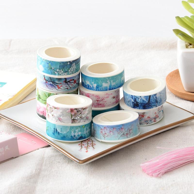 Cute Kawaii Plants Flowers Masking Washi Tape Decorative Adhesive Tape Decora Diy Scrapbooking Sticker Label Stationery