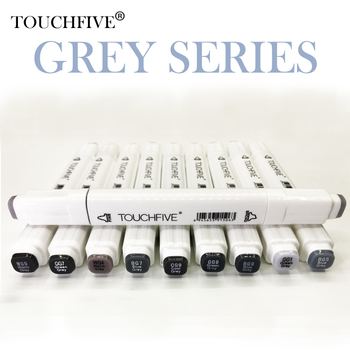 Touchfive Gray Tone Art Marker Set Alcohol Based Brush Pen Liner Sketch Markers Twin For Manga Anime Drawing Art Supplies sta 9pcs waterproof black micron pen hook liner sketch brush markers for manga comic handwriting brush pen drawing art supplies
