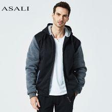 c4709e25836 ASALI модные толстовки с капюшоном для мужчин 2018 Зима Повседневное  Мужчин s куртки теплый флис лоскутное мужчин
