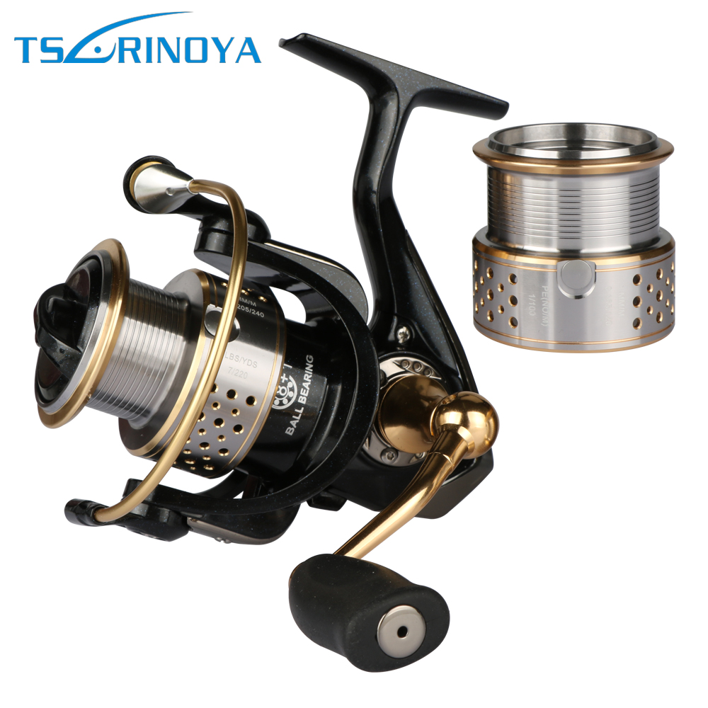 Tsurinoya Double Metal Spool Spining Fishing Reel 5.2:1 8+1BB 230g Bass or Carp Lure Fishing Reel Max Drag 6kg tsurinoya tsp3000 spinning fishing reel 11 1bb 5 2 1 full metal max drag 8kg jig ocean boat lure reels carretes pesca molinete