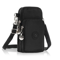 POMER Outdoor Sports 3 Layers Storage Zipper Waterproof Nylon Shoulder Bag Cell Phone Pouch Armband Case