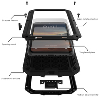 Luxury Doom Armor Dirt Shock Waterproof Metal Aluminum Phone Bags Case For Iphone X Cover Tempered