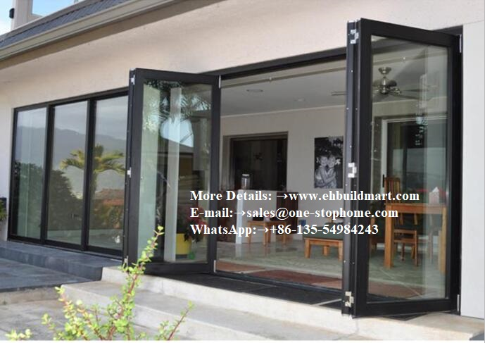 Double Hollow Glass Aluminum Alloy Folding Door,Bi-Fold Glass Door System Smoothly Maximize The Opening Space,soundproof Door