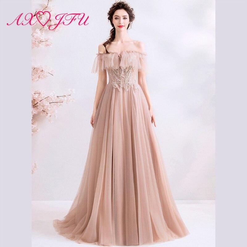 AXJFU princesse rose clair dentelle mariée robe de soirée de luxe bateau cou dîner partie volants perles cristal robe de soirée 2212