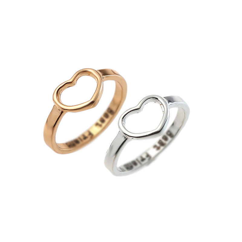 Huitan 2 Pieces Female Heart Shaped Simple Rings For Girl Plain Daily Anniversary Gift For Friends Hot Selling Dropshipping image