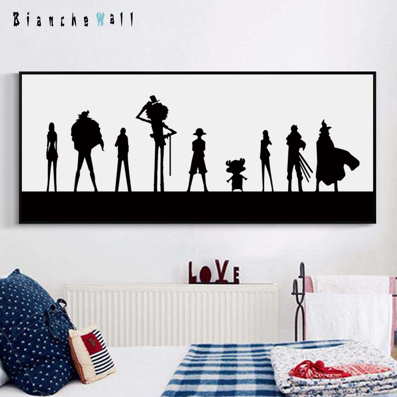 Puisi Elegan Hitam Dan Putih Animasi One Piece Panjang Banner Kanvas