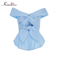 Kinikiss Female Blouse Apparel Light Blue Off Shoulder Slash Neck Shirt Bowknot Summer 2017 Blusas Women