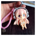 Sexy Style Anime Vinyl Toy Doll Keychain Beautiful Girl Key Chain Gifts Leather Rope Porte Clef Women Bag Charm Trinket Pendant