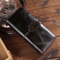 Vintage Oil Wax Cowskin Women Wallets Long Zipper 10 Card Holders Genuine Leather Purses