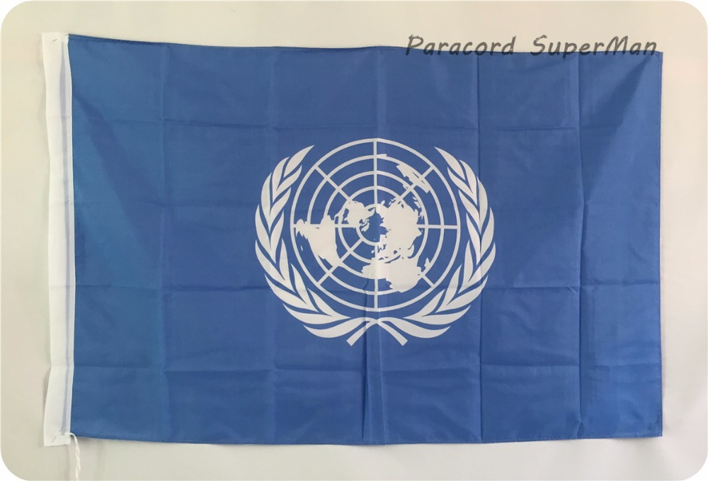 UNO-banderolppu 3 x 5-tuumainen roikkuva polyesteri YK: n bannerilippu 150x90cm juhlien maailmancup / juhla / koti