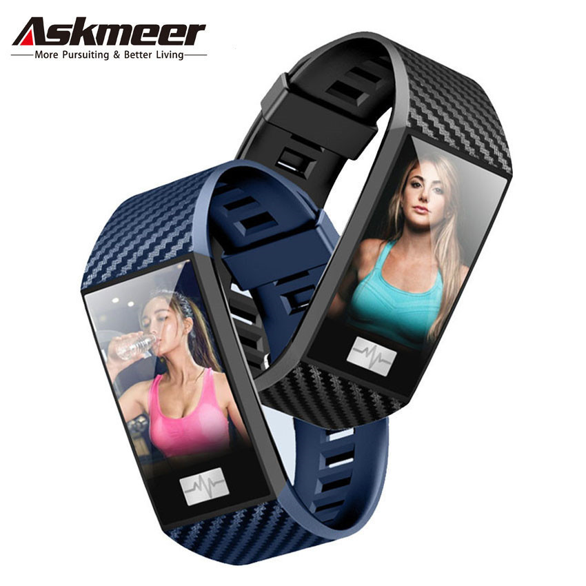 ASKMEER DT58 Smart Wristband Heart Rate Tracker Bracelet IP68 Waterproof Watch Men Band For IOS Android Phone