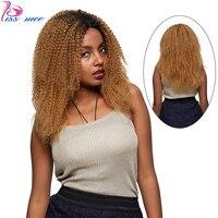 KISSMEE Джерри Curl Синтетические волосы на кружеве парик #1B/27 блондинка ломбер Синтетические волосы на кружеве человеческих волос парики для че