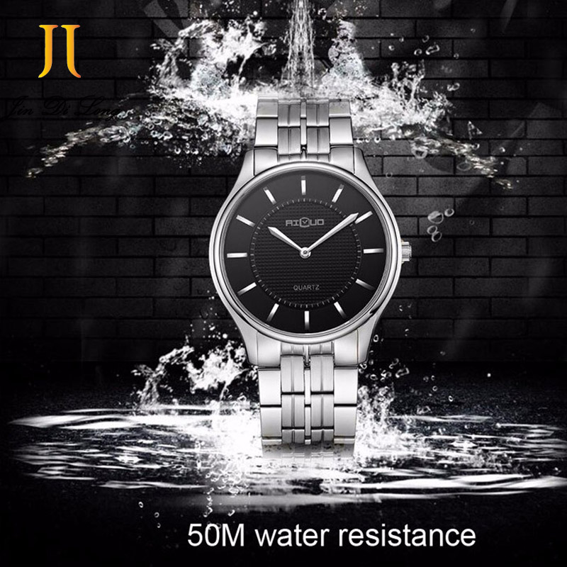 AILUO Fashion Ultra-thin Casual Business Classic Watch Men Quartz Diamond Wristwatch Waterproof 50M Full Stainless Steel Watches marussia genuine diamond lattice design ultra thin waterproof fashion business men quartz watch authentic leather band watches by lntgo