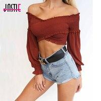 Jastie Sexy Off The Shoulder Ruffle Crop Tops 2018 Spring Summer Blouse Shirt Stretch Chiffon Shirts