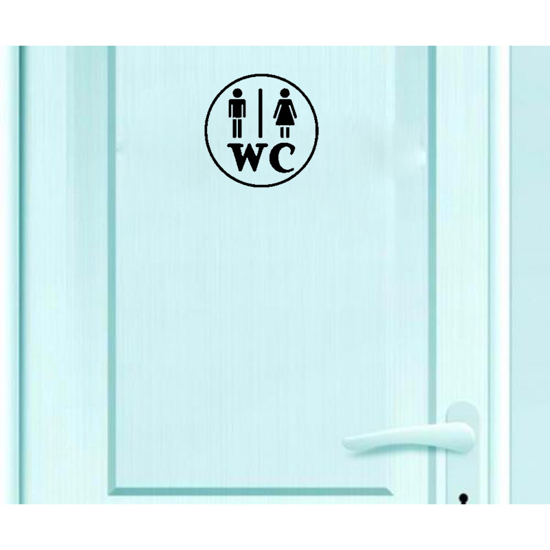 YOJA 16*16CM Interesting Door Sticker Toilet WC Man Woman Wall Decal Black Graphical A40255