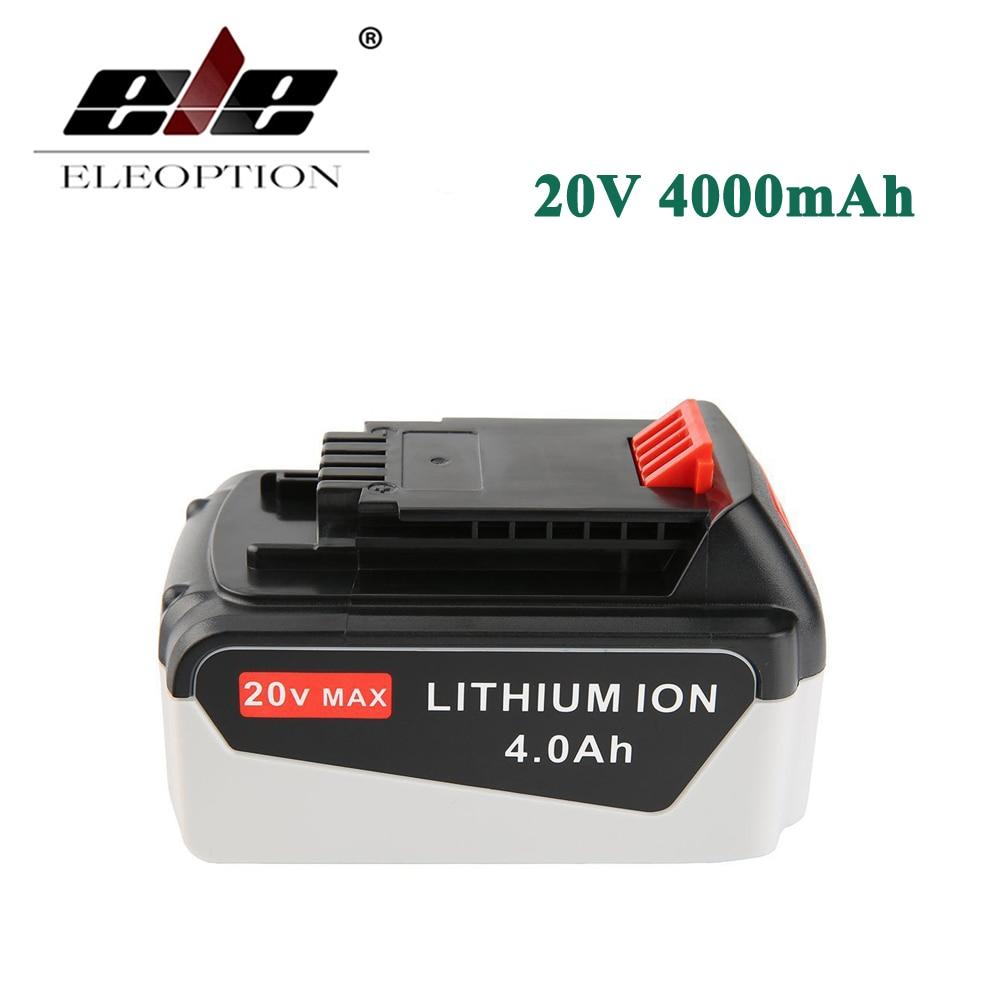 ELEOPTION 20V 4000mAh Li-ion Rechargeable Power Tool Replacement Battery for BLACK & DECKER LB20 LBX20 LBXR20 LB2X4020-OPE