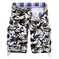 Men's Cotton camouflage Cargo shorts New fashion summer Male Multi-pocket casual Knee Length shorts Size 38 No belt
