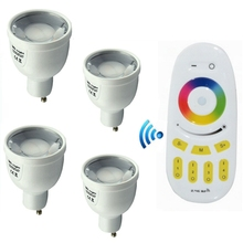 цена на 2.4G Milight AC86-265V RGBW RGBWW  GU10 5W Led Bulb Lamp Wireless Dimmable Smart Lights With Remote Controller