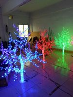 Free ship Christmas New year party holiday Light 1.2m 4FT Crystal Cherry Blossom Tree red/green /blue Color Home decor 3 trees