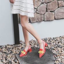 Bimolter Spring Summer Autumn Pink Blue Red Pointed Toe Square Heel Slingbacks Single Shoes Woman High Heels Party Pumps PCEA005