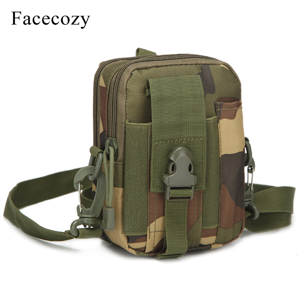 Facecozy Men Camouflage Climbing Bag Tactical Pockets Waterproof Belt Waist Bags Nylon Phone-Packs Purse Sports Hiking Daypacks