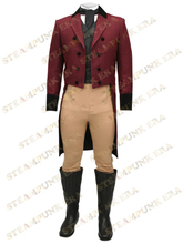 Free Shipping Trendy Crimson Swallow-tailed Steampunk Coat For Men