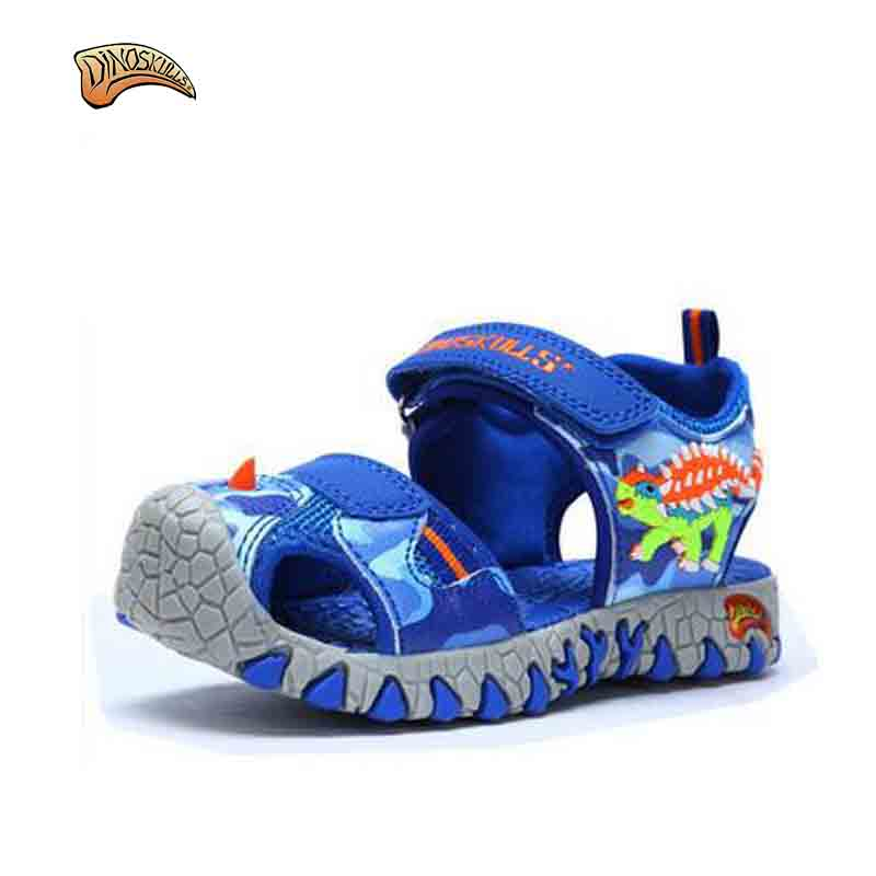 Dinoskulls 2017 Summer New Arrival Glowing Kids Beach Sandals Closed Toe Toddler Boys Sandals Sports PU Leather Baby Boys Sandal