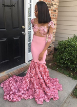 Sexy Pink Prom Dresses 2019 See Through Mermaid Lace Appliques Plus Size Party Dress Evening Gown With 3D Rose Flowers цена и фото