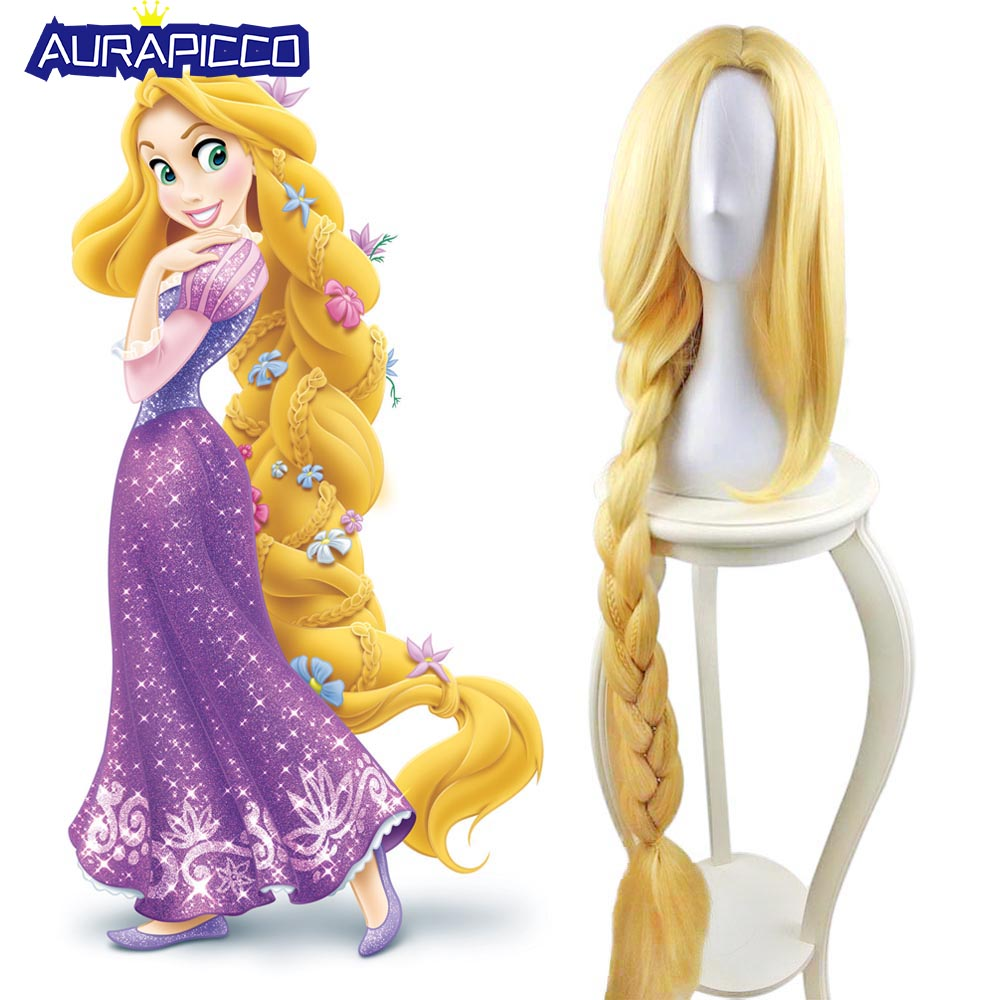 "Tangled Princess Rapunzel Cosplay Adult Womens Long Braids Blonde 39"" Extra Long Hair Halloween Carnival Costume Accessories"