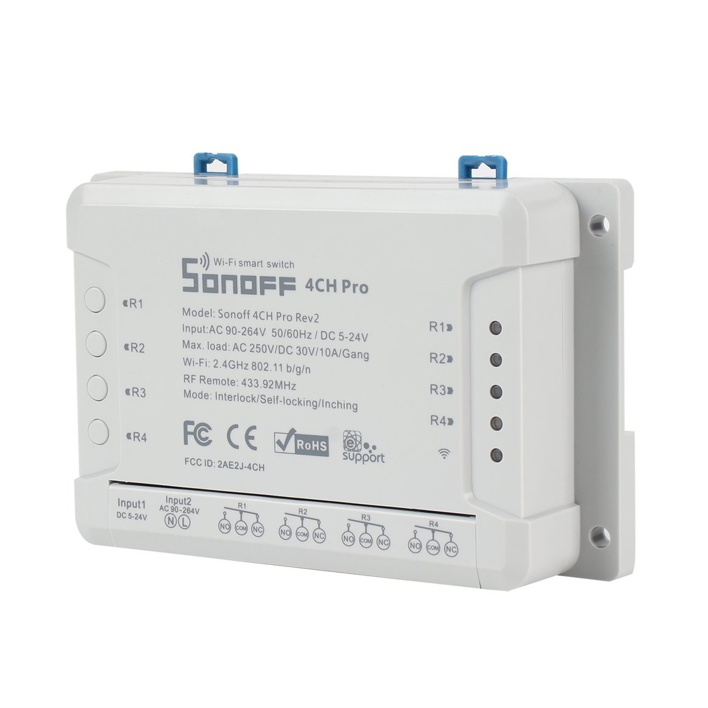 Commutateur intelligent sans fil Sonoff 4CH Pro 4 gangs WiFI 433 MHZ télécommande commutateur monté sur Rail DIN avec fonction de synchronisation