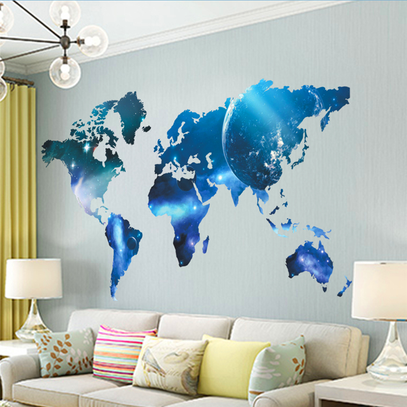 Newest Fashion World Map Space Style Wall Decals