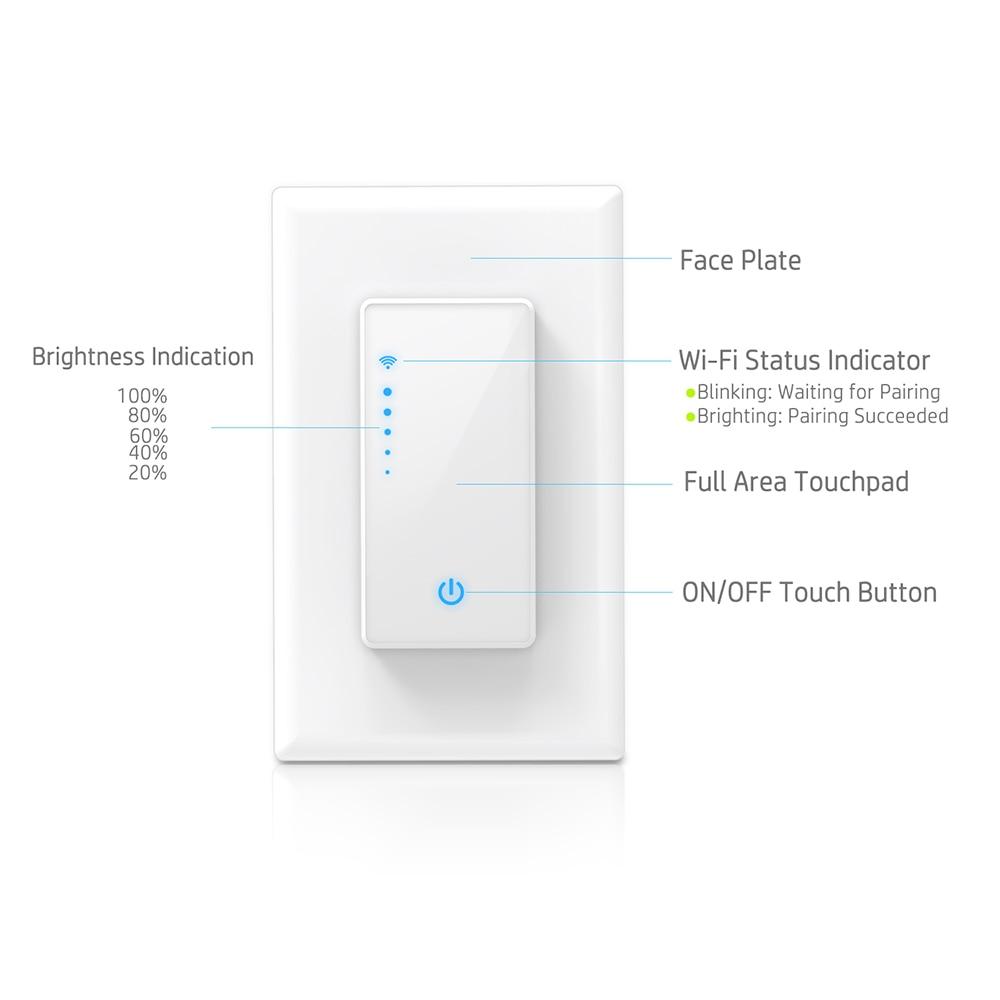 Für Smart Leben App Telefon Fernbedienung Kompatibel Für Alexa Google Assistent Dimmbare Wifi Schalter Uns Stecker Wand-in Smart Switch