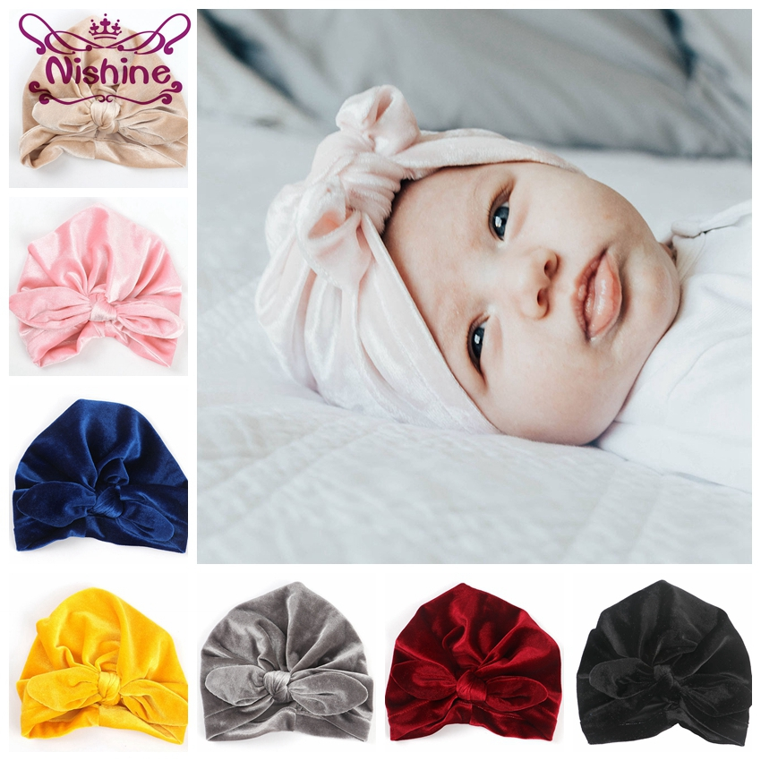 Reasonable Nishine Cotton Blend Turban Hat Kids Newborn Big Bow Knot Beanie Stylish Top Knot Caps Shower Headwear Birthday Gift Photo Props Girls' Clothing