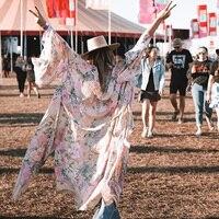 Elegant Lilac Lily Maxi Kimono Women Summer Autumn Half Sleeve Open Stitch Rayon Jacket Ladies Gypsy Boho Hippie Long Cardigan