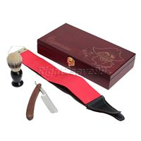 New Straight Razor Shaving Knife + Wooden Box +Canvas PU Leather Strop + Shaving Brush Shave Kits Straight Razor Knife Sets