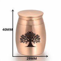 IJU009 Tree Of Life Large 40mm Height Memorial Urn Rose Gold Stainless Steel Cremation Jewelry Ash