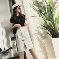 2019 Summer Korean Fashion Two Piece Set Slim 2 Set Woman Summer Skirt Sets Crop Top And Skirt Set Zip Rivet Women Clothes