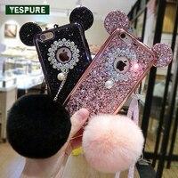 YESPURE Bling Gliter Cellphone Capa Celular For IPhone 6sPlus 6plus Mouse Ear Fur Ball TPU Cover