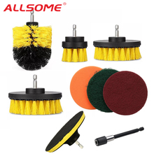 ALLSOME 9pcs Drill Brush Scrub Pads Power Scrubber Cleaning Kit Cleaning Brush for Power Tool HT2776