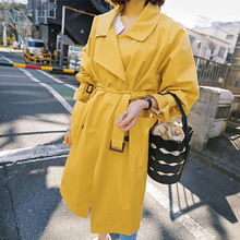 NXH 2018 Spring Fall Yellow Windbreaker Women New Fashion Yellow Trench Coat Girl Students Long Casual Trenches Outwear Overcoat