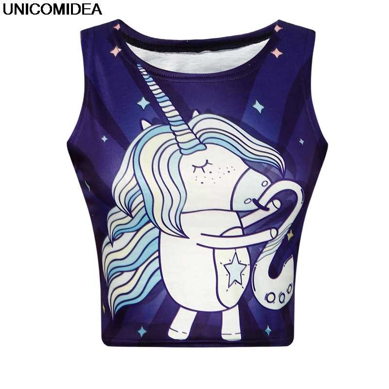 8fe68a4a084 Detail Feedback Questions about 2019 Sexy Unicorn Crop Top Women Tank Tops  Unicornio T Shirt Vest Licorne Cropped Female Girls Fitness Elastic Short  Camis ...